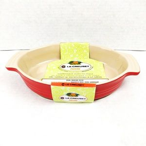 "Le Creuset Red Baking Dish Oval 9"" Stoneware"